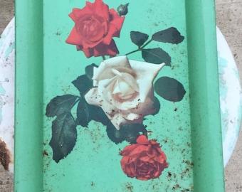 Vintage Metal Rose pattern serving tray