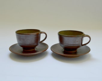 Studio Pottery Pair of Cups and Saucers