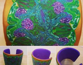 Polymer Clay Floral Cuff Bangle