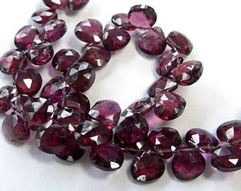 Rhodalite Garnet Gemstone Bead. Semi Precious Gemstone. Faceted Garnet Heart Briolette, 5mm. Pairs or NonMatching 1 to 9 Briolettes. (53gn2)