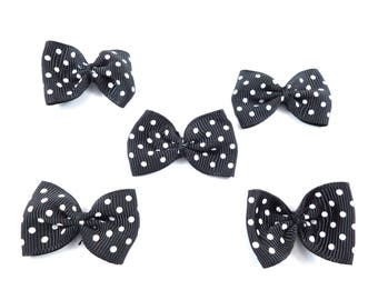 5 bow ties black polka dots to stick or sew