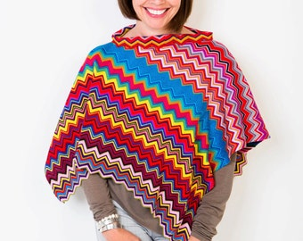 Poncho, Colorful Poncho, Chevron Poncho, Festival Poncho, Bohemian Poncho, Fashion Accessories, Summer Poncho, Handcrafted Gift,  407