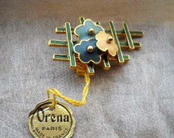 60s ORENA Vintage Brooch Art Deco. Floral Brooch. Organic Jewelry. Gold Plated and Enamel composition: flowers in a grid for flowers.
