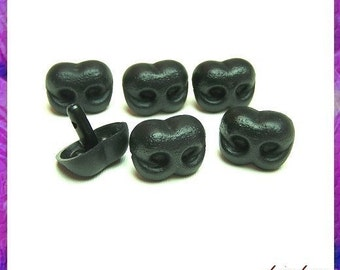 25 mm Black Plastic Nose Animal Amigurumi Safety Noses - 6 pieces (BN25)