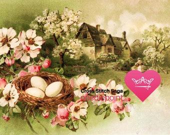 Easter cross stitch pattern - Cross stitch cottage - Religious cross stitch - Cross stitch spring flowers - Cross stitch saga file - PDF