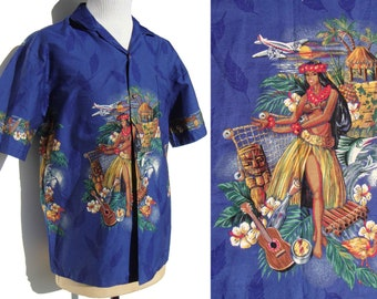 Vintage Aloha Shirt Hawaiian Hula Dancer Novelty Print by KY'S – L XL