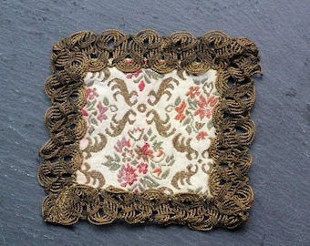 Antique French gold metal lace braid trim trimmed brocade floral fabric square