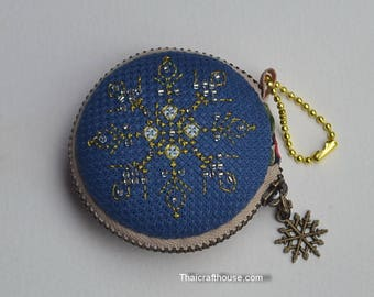Snowflake Macaroon Purse, hand embroidery, Jewelry box,6.5 x 2 cm