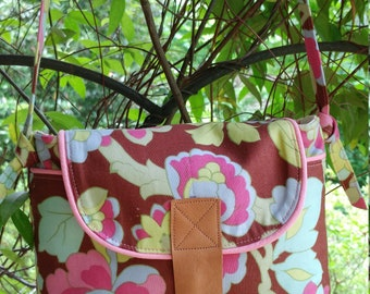 Crossbody Bag with Amy Butler Fabric & Adjustable Strap