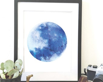 Blue Moon. Watercolor original art print. Wall art. Home decor. Moon wall art.