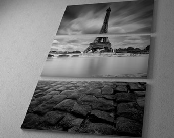 Eiffel Tower Study I by Moises Levy Gallery Wrapped Canvas Triptych Print