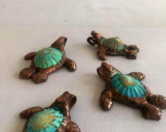 Sea Turtle Pendant, loggerhead, shell turtle, surfer jewelry, beachy gift, florida,