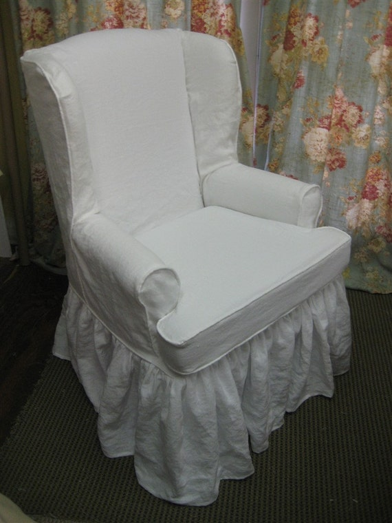 Traditional Wing Back Chair Slipcover In Washed Linen Local