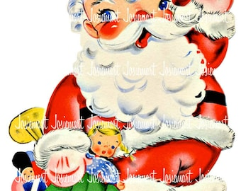 Santa Retro Digital - Christmas Digital - Vintage Digital Download - VIntage Santa Christmas Image -  Vintage Image Greeting Large JPG PNG
