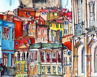 PORTO WATERCOLOR PRINT. Portugal Wall Art. Porto Architectural Print. Painting Print Of Porto. Porto Fine Art Print. Porto Art. Portugal Art