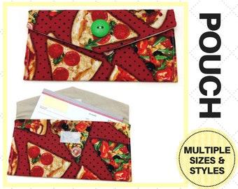 Pizza Slice Pouch - Checkbook Case, Keychain, Card Holder, Storage, Clutch