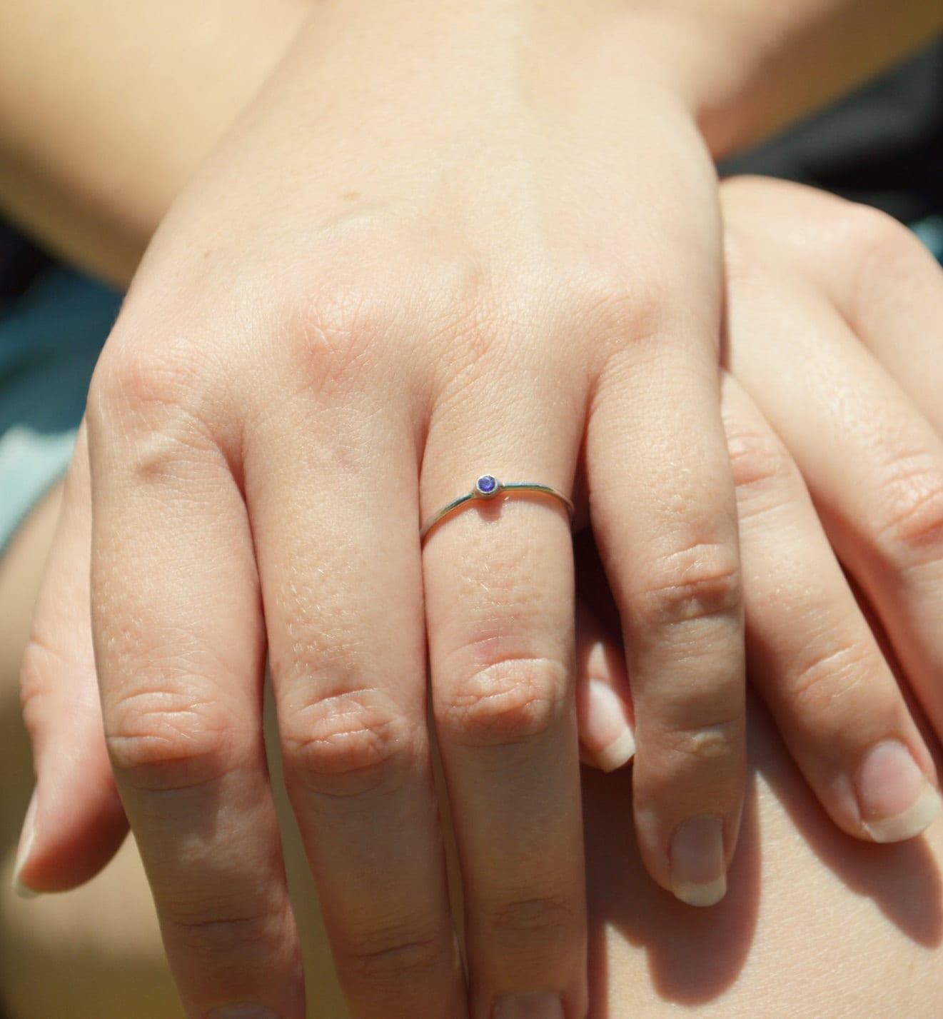 Tiny Amethyst Ring, White Gold Amethyst Stacking Ring, Amethyst Ring ...