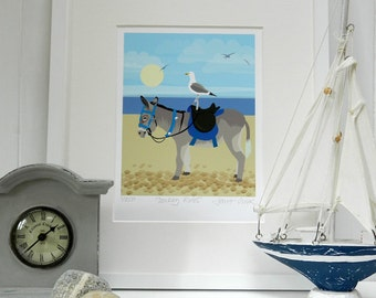 Seaside Wall Art Print, Donkey on Beach - mounted archive quality giclee print