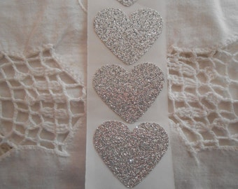 Large Silver Glitter Shimmer Heart Wedding Event Envelope Seals - Sweet Love Stickers x 25