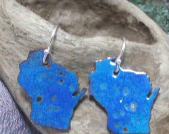 Wisconsin hand sawn earrings