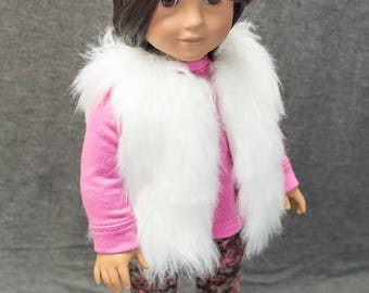 "American Girl or 18 Inch Doll Faux FUR VEST in White for  American Girl or 18"" doll"