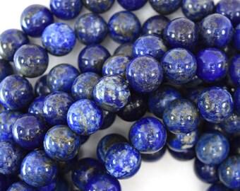 "10mm natural blue lapis lazuli round beads 15"" strand 39865"