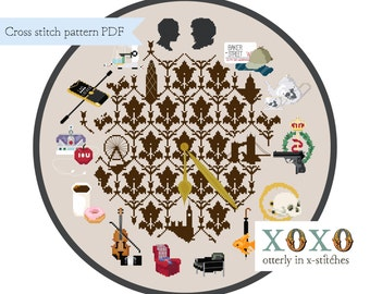 Sherclock Cross Stitch Pattern Digital Download PDF File Cross Stitch Clock Sherlock Holmes John Watson Home Decor XStitch 221B