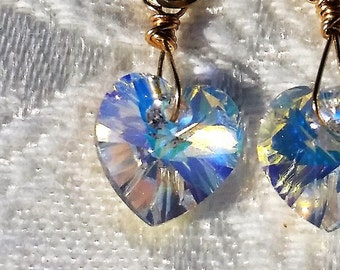 Swarovski Crystal Earrings,  Aurora Borealis Swarovski Crystal Earrings , Swarovski Earrings