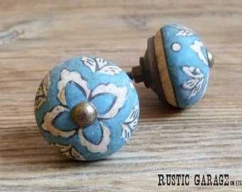 "SET OF 2 - 1.5"" Antique Aqua Blue and Cream Ceramic Knob - Floral Drawer Pull - Shabby Chic Rustic Home Decor"