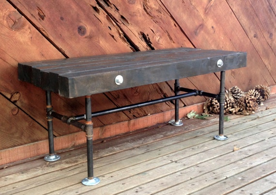 & Items similar to 4x4 Wood and Iron Pipe Bench on Etsy
