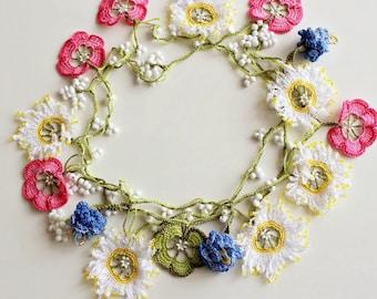 Colorful wildflowers necklace, Elegant crochet necklace, Oya necklace, Flower necklace, Daisy necklace, Flower Girl Jewelry