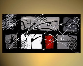 Black White Red Contemporary Abstract Painting, Modern Textured Acrylic Painting by Osnat - MADE-TO-ORDER