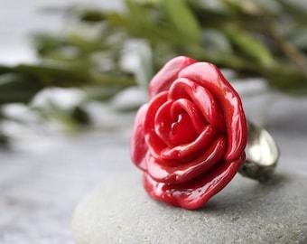 Lampwork Ring Red Rose, Handmade Lampwork Ring, Lampwork Ring, Lampwork Beads Ring, Flower Ring, Lampwork Beads, Ring Jewelry, Flower Rings