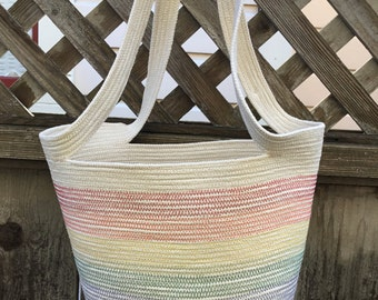 Rainbow Striped Tote with Handles #2