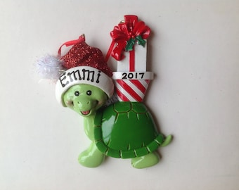 Turtle Personalized Christmas Ornament Newborn, Baby's First Christmas Grandparents, Goddaughter, Godson, Grandkids, Co-workers