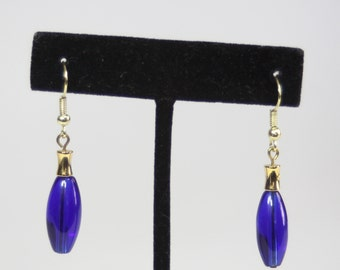 Cobalt Blue Earrings with Gold Accents