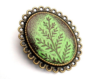 Rustic Seedling Tree Brooch -  Oval Antiqued Brass Filigree Brooch Pin. Green and Brown. Mother's Day Gift. Teacher Gift. Co-worker Gift