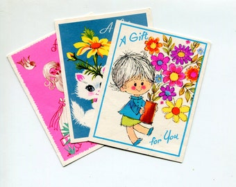 Vintage Cute Gift Tags Tiny Cards Kitten Flowers Girl Gift For You Birthday Friendship Pink Blue 1960s Quaint Shop Small Paper Cards