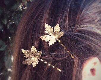 Maple Leaf Hair Pins Gold Maple Leaf Bobby Pin Leaf Hair Clip Bridal Hair Woodland Wedding