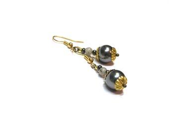 Gray Pearl Earrings Drop Earrings  Swarovski Pearl Top Selling Jewelry Pearl Earrings Modern gift for her Gemstone Earrings