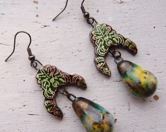 Gigi~Statement Earrings/Gift For Her/Boho Earrings/Stevie Nicks Style/Tribal/Green Earrings/OOAK Earrings/Ceramic Earrings/Handmade Earrings