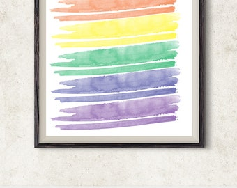 Rainbow Watercolor Brushstrokes Wall Art