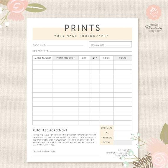 Charming Order Form Template Photography Order Form Photography