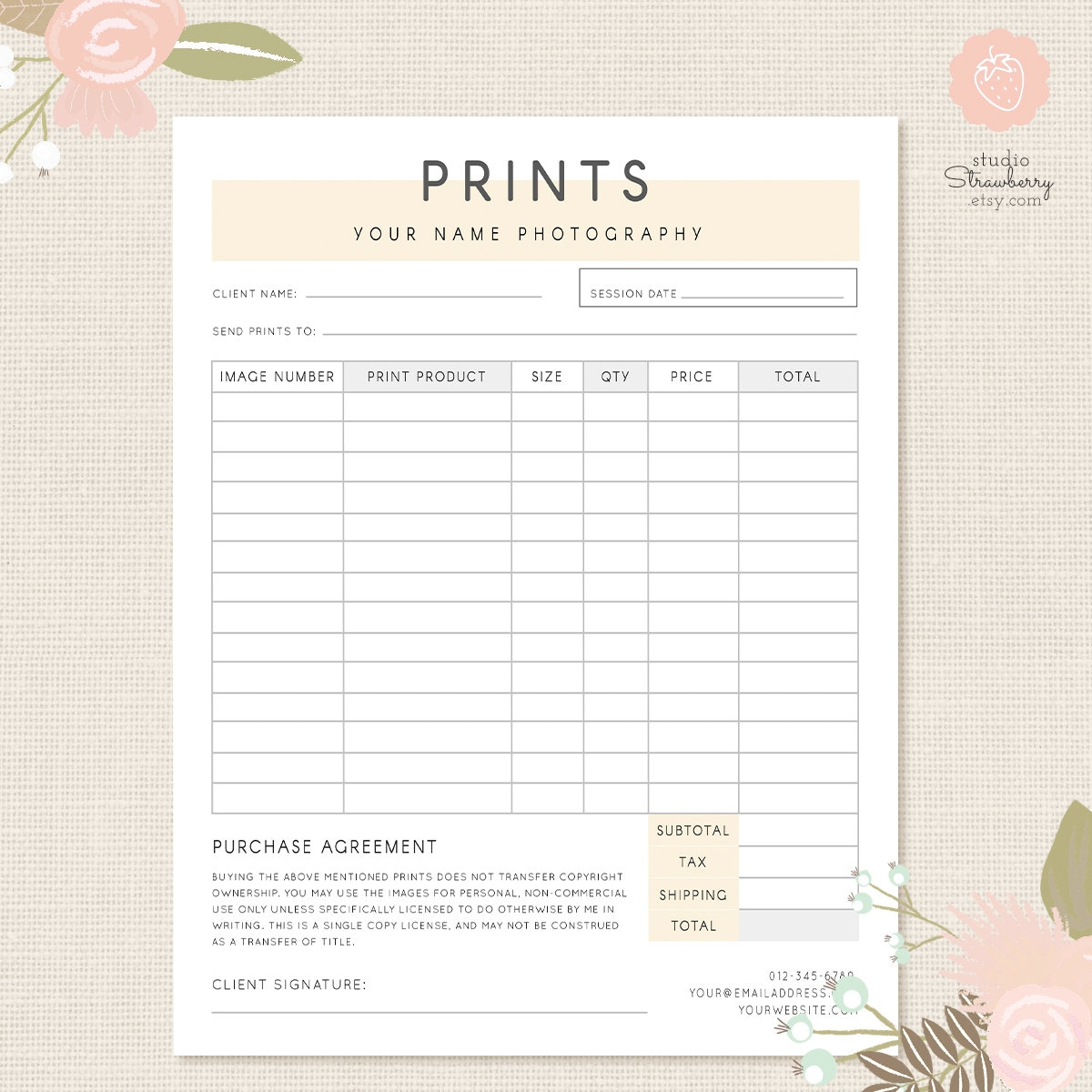 photography order form template excel