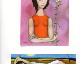 A Margaret Keane HALF OFF Big Eye Girl Lithograph Print Two Small Prints on One Page Girl with Flower and Beach Scene