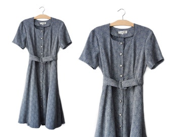 Vintage button front belted dress | S
