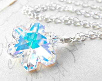 Snowflake Necklace Swarovski Aurora Borealis Crystal Pendant Sterling Silver Necklace Free Shipping