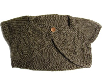 Small 9/12 months, sleeveless bolero, hand knitted, dark olive color