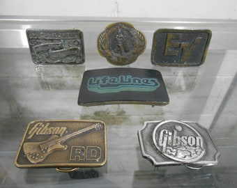 Set Of 6 Vintage Music Industry Belt Buckles / Gibson Guitars / Brass & Leather / 1970s 80s Music Collectors Memorabilia