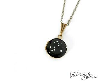 Aquarius Zodiac Constellation Necklace on Vintage Tiny Locket - Hand Painted - Brass Chain - January February Birthday, Water Bearer